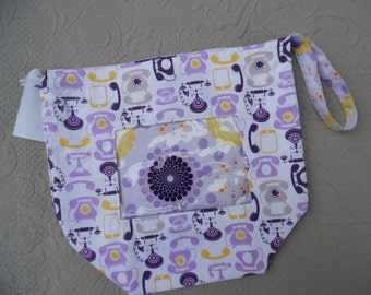 "Reversible Project Bag, Size Medium with window ""Telephone"""