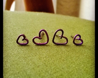 Niobium Heart Stud Earrings Tiny and Small Size