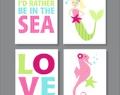 Mermaid Printable Children's Wall Art, Kid's Bathroom, Bathroom Decor, Children's Art Print- File Download