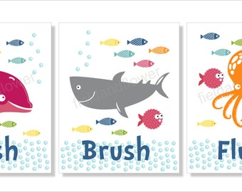 Shark, Octopus and Dolphin Bathroom Wall Art, Typography, Bathroom decor- Set of three prints