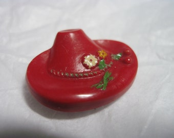 """1940's Realistic Red German Industrial Bakelite """"Alpine Hat"""" Button w/ Posy Band ....#36"""