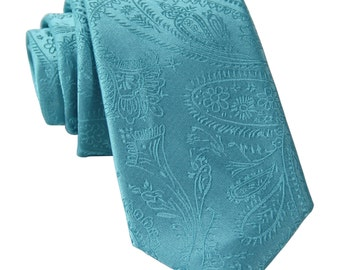 "Men's Paisley Turquoise 2.5"" Necktie, for Formal Occasions"