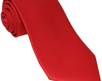 Men's Solid Red Big & Tall Extra Long Necktie, for Formal Occasions