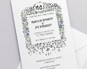 Printable Wedding Invitation Download 'Floral' // DIY TEMPLATE // Word Mac or PC // 5 x 7 // Change artwork colour // Luxury Design