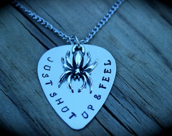Just Shut Up And Feel - Stamped Guitar Pick Necklace - Book Quote Pendant - Children Of The Alliance - Shawn Reilly - Bug - Spun - Book Swag