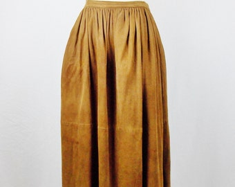 80s RALPH LAUREN CAMEL Suede maxi Skirt Vintage sz 12  Med Street Style Fashion 2016 Trend