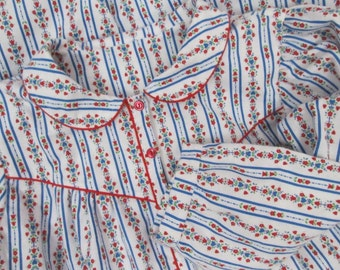 Handcrafted Womens Flannel Nightgown-Tyrolean Tulips-Floral-100% USA Cotton-XL 1X 42-44 Bust