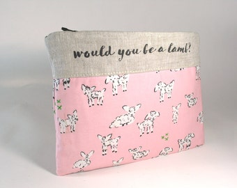 Be a Lamb Knitting Tool Bag, Needle Case, Canvas and Linen Made to Order