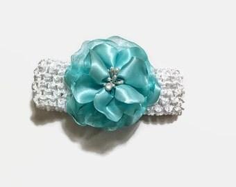 REDUCED/Aqua Blue Flower Headband, Flower Headband, Girl's Headband, Girl's Accessory, Hair Accessory, Headbands
