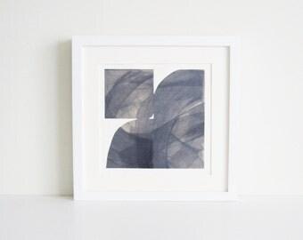 "Etching Print. Steel Blue Gray Home Decor : ""Pane 56"". Print Size 12"" x 12"" . unframed ."