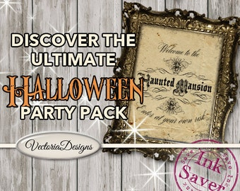Ultimate Halloween Party Pack Printable party decor diy paper crafting instant download digital collage sheet - VDKIHA1423