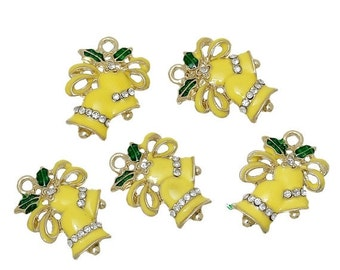 """5 CHRISTMAS BELLS Charms or Pendants . Gold Plated with enamel and rhinestone accents, 5/8"""", chg0309"""