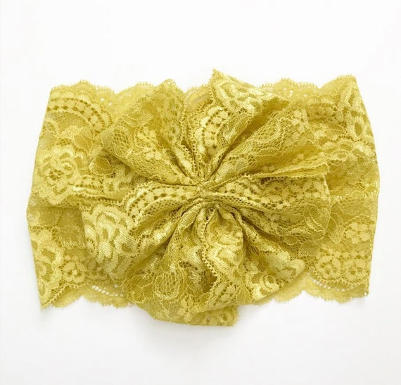 NEW MUSTARD LACE Oversized Wrap with Cinched Finished or Bow Finish - stretch head wrap/turban/headband / adult / winter/ fall child baby