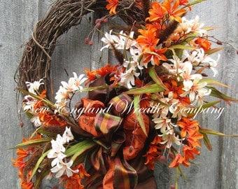 Fall Wreath, Autumn Wreaths, Fall Floral Wreath, Fall Designer Wreath, Elegant Fall Wreath, Fall Garden Wreath