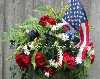 SUPER SALE Patriotic Wreath, Fourth of July Decor, Memorial Day, Veteran's Day, Summer Floral, Designer, American Flag Wreath