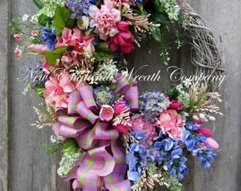 Spring Wreath, Floral Wreath, Elegant Wreath, Cottage Wreath, Country French Wreath, xl Designer Wreath
