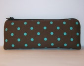 """Padded Pipe Pouch, Brown Aqua Pouch, Pipe Case, Pipe Bag, Glass Pipe Pouch, Padded Pouch, Spotted Pouch, Stoner Gift, Weed Bag - 7.5"""" LARGE"""