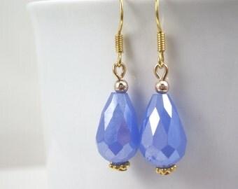 Periwinkle blue teardrop earrings faceted glass gold dangle dainty earrings