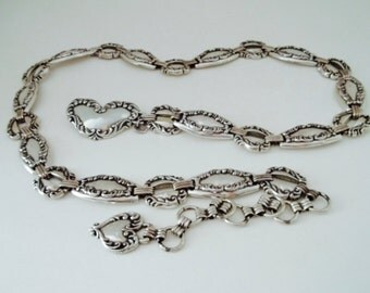 Brighton Heavy Silver Heart Concho Belt Large