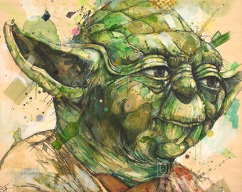 "Yoda 12"" x 12"" Digital Art Print Of Original Ink and Acrylic Painting"