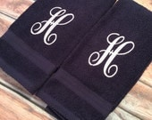 Monogram Hand Towels Set of 2 Initial Personalized Any Color Letter Great Hostess Bridesmaid Wedding Gift Great for Gym towels