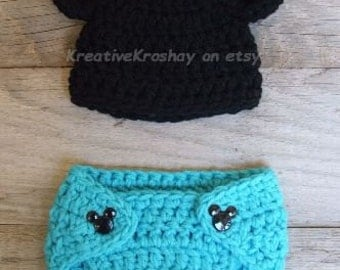 Mickey / Minnie Mouse Inspired Diaper Cover Set w/matching Mickey Buttons - CHOOSE YOUR COLOUR
