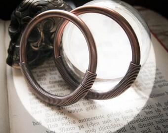 Copper Tesla Hoops in 4g or 6g. Large Gauge Ear Weight Threaders.