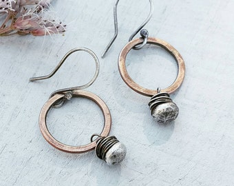 RUSTIC Mixed Metal Earrings by MOONDROPS /// Minimalist Jewelry /// Bronze & Sterling Silver