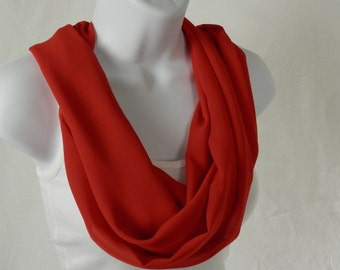 Red Chiffon Infinity Scarf, Bright Red Scarf, Single Loop Scarf, Handmade Fashion Scarf by Thimbledoodle July 4th, Christmas, Valentines Day