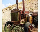65% OFF Industrial Decor Vintage Tractor Photograph - Antique Rust Red Green Yellow Farm Tractor Decor - 8x10 Fine Art Photo Print - Days Go