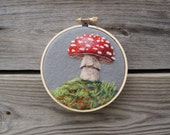Woodland Toadstool 22 - Needle Felted Wool Painting Hoop - 4""