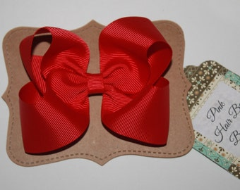 Red boutique hair bow , red hair clip , holiday hair bow , school bow , 4 inch , red bow for girls