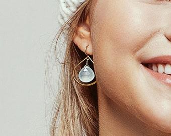 Chalcedony Hoop Earrings - Silver Earrings - Dangle Earrings - Drop Earrings - Aqua Earrings