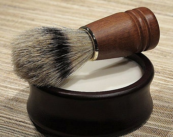 Men's Shaving Kit, Shave Set Bowl with Lid in Mahogany Finish Wood Bowl for Valentine's Day