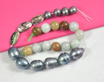 10Beads Black Freshwater Pearl, 12Beads Natural Emerald,jadeite ,Abalone Shell, Mother of pearl, Loose Gemstone beads Fit Handmade Jewelry