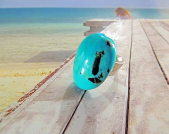 925 silver ring adjustable Turquoise 18 / 25mm