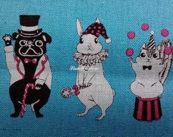Animals' masquerade, blue, fat quarter, cotton linen blended fabric