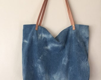 Hand-bleached denim and leather tote 001