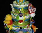 Custom Order For Danielle Cheung - Colorful Winnie The Pooh Diaper Cake (5 Tier)
