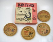 Vintage Kitsch - Novelty Barware, Bar Types Funny Cocktail Napkins by Ann Leaf, Wood Coasters, Witty Sayings - Funny Gag, Made in Japan