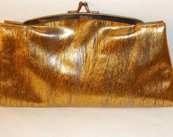 1950s Vintage Purse Soft Plastic Clutch Atomic Age Gold Strands