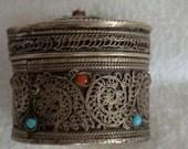 Vintage Silver Filigree Trinket Box with Semi-precious Stones