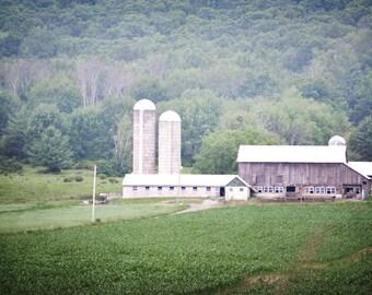 Barn Photography Print 12x18 Fine Art Pennsylvania Rustic Farm Cornfield Mountain Country Decor Summer Landscape Photography Print.