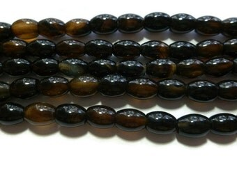 "Black Agate - Oval Rice Bead - 9mm x 6mm - 46 Beads - 15.75"" strand - shiny stone - black and brown translucent"