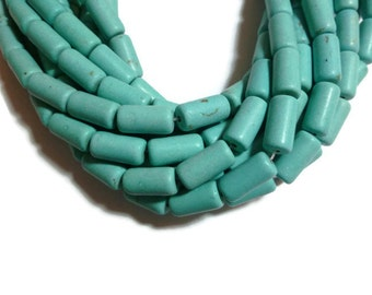Turquoise Magnesite - Tube or Cylinder Bead - 16mm x 8mm - 24 beads - Full Strand - Blue Aqua Sky