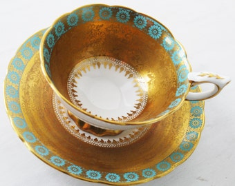 Royal Stafford Teacup and Saucer, Gold and Aqua Floral