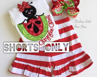 Knit Ruffle shorts - Striped knit ruffle shorts in red and white - comfy, girly shorts to wear all Summer long