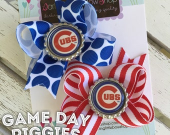 Baseball Team Pigtail Bows - Cubs Pigtail Bows - Cubs bows in red and royal blue