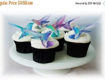 CHRISTMAS in JULY SALE Edible Cake Toppers Hummingbirds - 12 Cupcake Toppers, Wedding Favors, Spring Wedding, Pastel