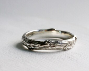 Mens Silver Branch Band Ring, Mens Wedding Ring, Mens Branch Ring-style 4